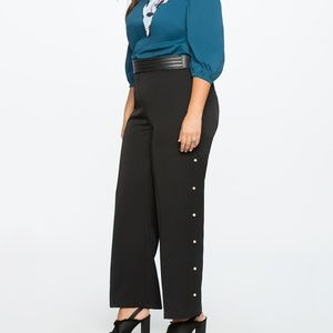 Eloquii Studio Wide Leg Trouser With Pearls